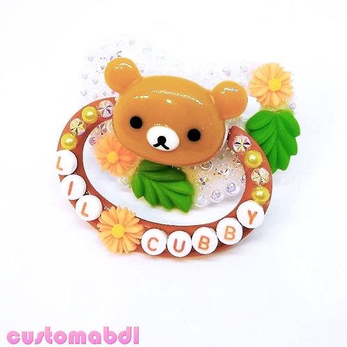 Lil Cubby - Bear - White, Brown, Orange & Green - Cottagecore
