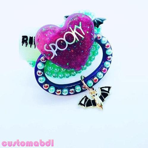 Spooky Heart w/Charm - Mint Green & Purple - RIP Tombstone, Bat
