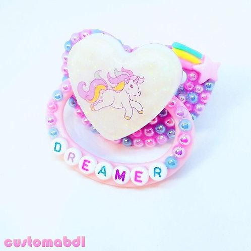 Unicorn Dreamer Heart - Lavender, Pink, Baby Blue & White - Stars