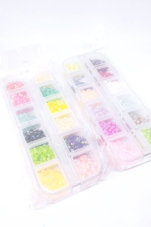 Small Pearl or Rhinestone Mix, 3mm, 3000 Pieces