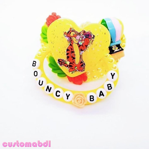 Bouncy Baby Tiger & Balloons - Yellow, Green, Orange & Red