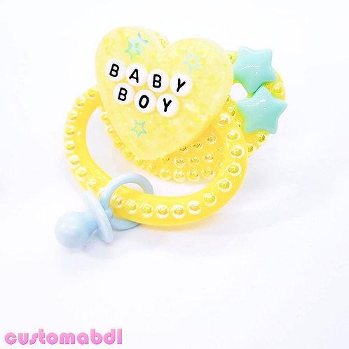 Baby Boy Heart w/Charm - Yellow