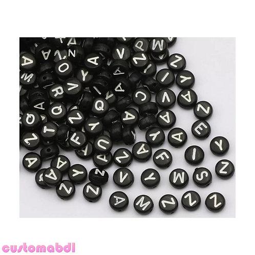 Letter Beads - 100pcs - 7mm - Black