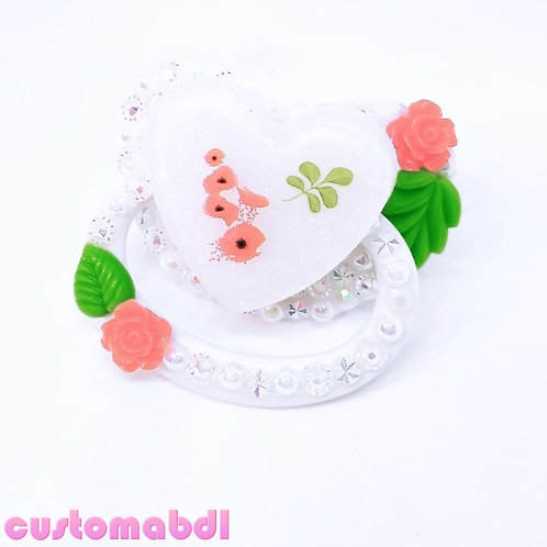 Vintage Floral - White & Red - Cottagecore
