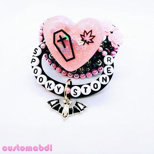 Spooky S Leaf Heart w/Charm - Black & Pink - Coffin, Bat