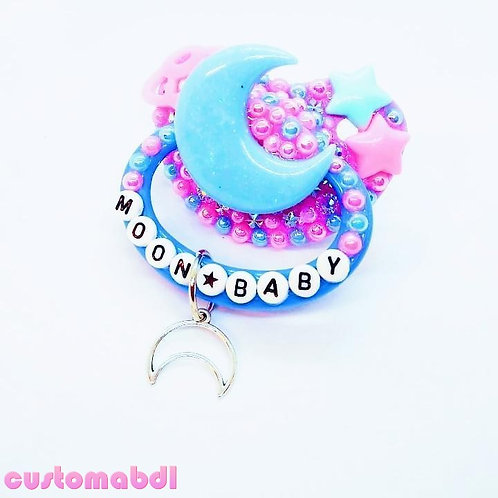 Moon Baby w/Charm - Lavender, Baby Blue & Pink - Space, Stars, Planet