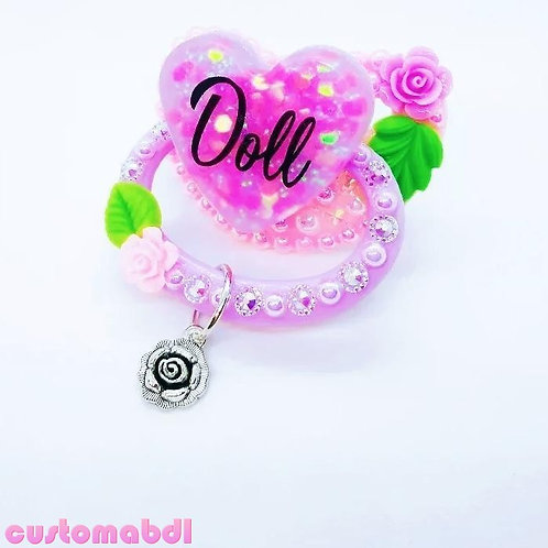 Doll Heart w/Charm - Pink, Lavender & Green