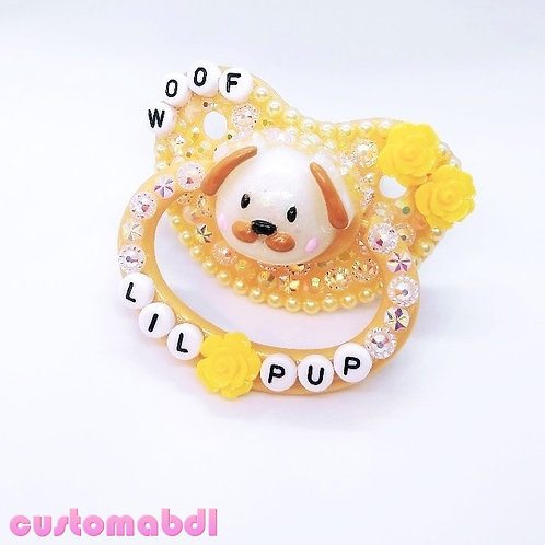 Lil Pup Woof - Tan & Yellow - Cottagecore- Light Brown - Dog, Puppy