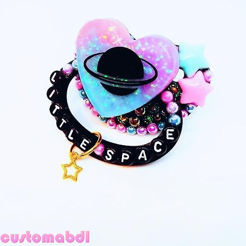 Little Space Planet Heart w/Charm - Black, Pink, Lavender & Baby Blue - Staea