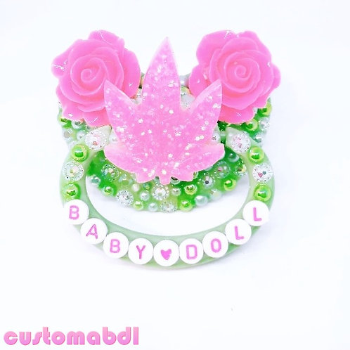 Baby Doll - Leaf & Roses - Green & Hot Pink