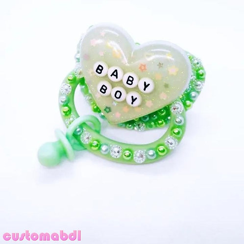 Baby Boy Heart w/Charm - Green
