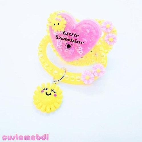 Little Sunshine Heart w/Charm - Yellow & Pink