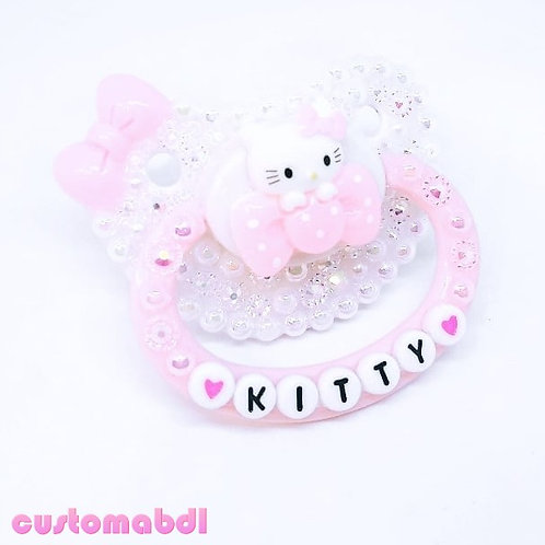 HK Kitty Bow - White & Pink
