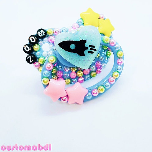 Zoom Space Ship Heart - Baby Blue, Pink & Yellow - Stars