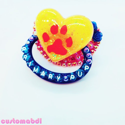 Primary Pup Heart - Red, Yellow & Royal Blue - Paw, Dog