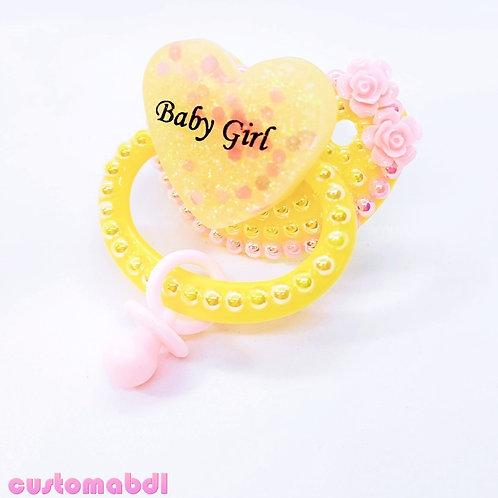 Baby Girl Heart w/Charm - Yellow & Pink