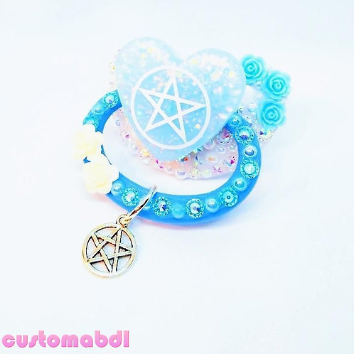 Pentagram Heart w/Charm - Baby Blue & White