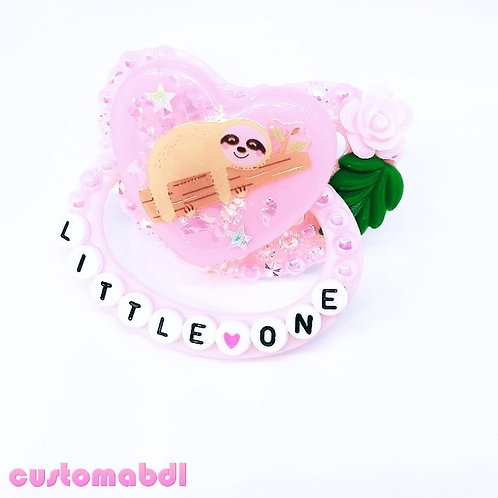 Little One - Sloth Heart - Pink & Green