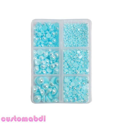 AB Flatback Pearls - 2mm-8mm - 1000 Pieces - Baby Blue