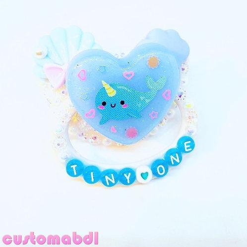 Tiny One Narwhal Heart - White & Baby Blue - Ocean - Seashell