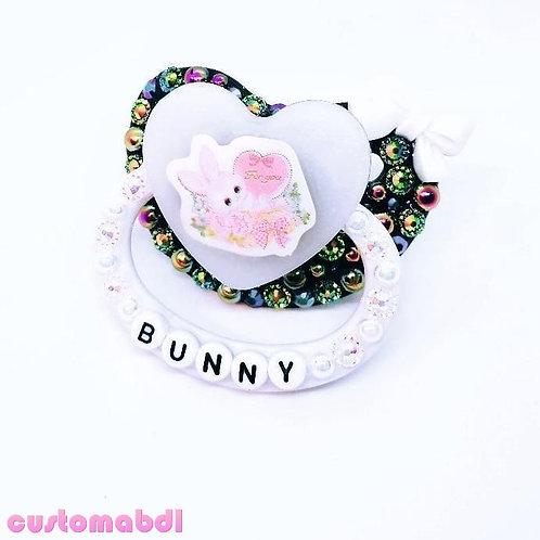 Bunny Heart Bow - Black & White - Rabbit