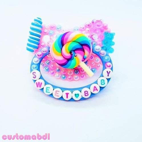 Sweet Baby Lollipop - Pink, Baby Blue, Lavender & White - Candy, Gummy Bear