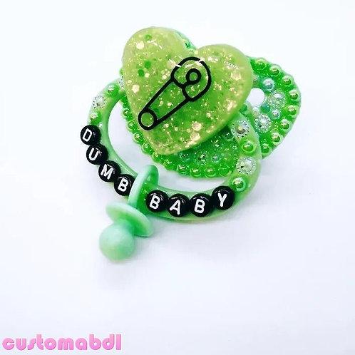 Dumb Baby Heart w/Charm - Green & Black
