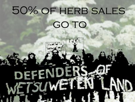 Herb sale in support of Wet'suwet'en Land Defenders