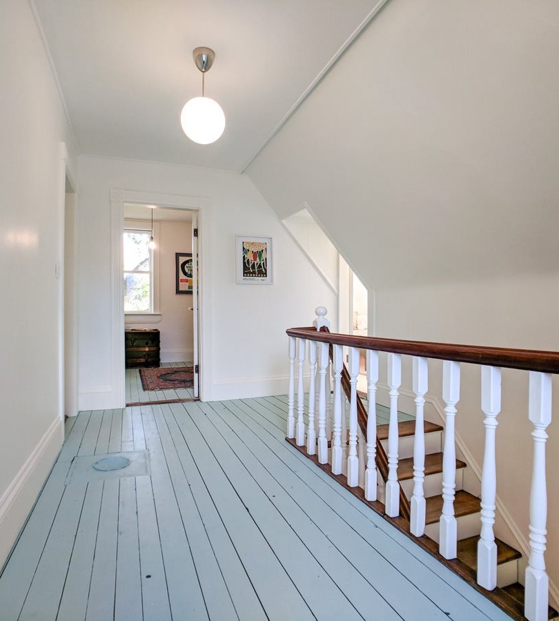 stair rails and wood floors