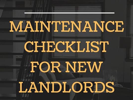 Maintenance checklist for new landlords