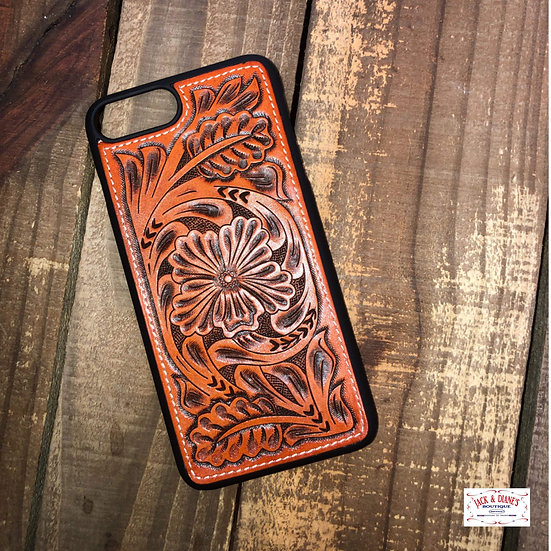 3D Leather Tooled iPhone  Snap Phone 8+ Case