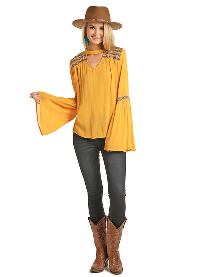 ROCK & ROLL COWGIRL  BELL SLEEVE BLOUSE