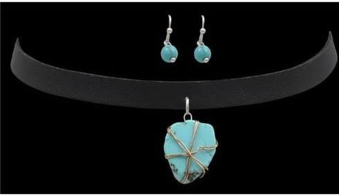 Choker Style Black Strap Necklace with Turquoise Stone