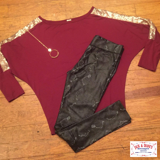 Maroon Batwing Top with Rose Gold Sequin on Sleeves