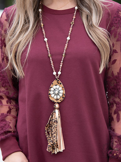 The Wildest West Leopard Tassel Necklace