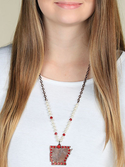 The Copper Red Bling Arkansas Necklace Pearl Beads
