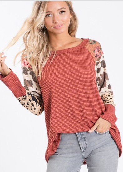 Waffle Top with Color Block Sleeves Floral Leopard Cow Print