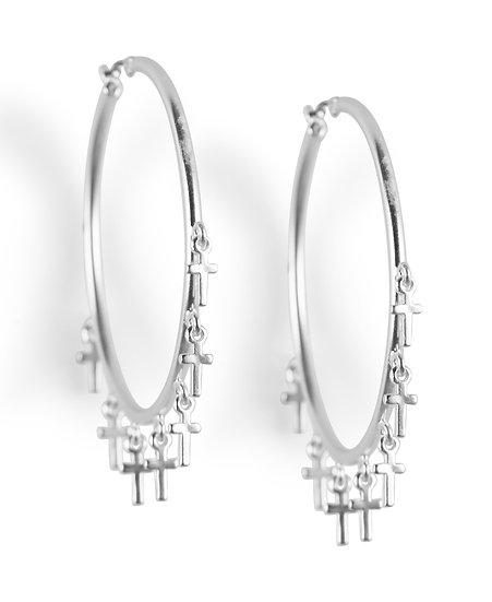Lucky Brand Hoop Earrings with Small Cross's