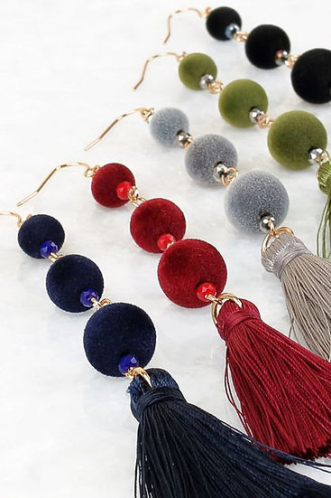 Fringe Ball Earrings in Multiple Colors