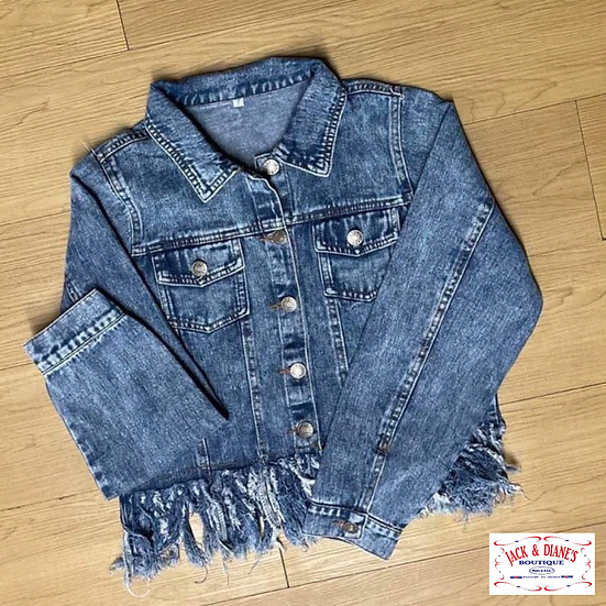 Blue Jean Cropped Fringe Jacket