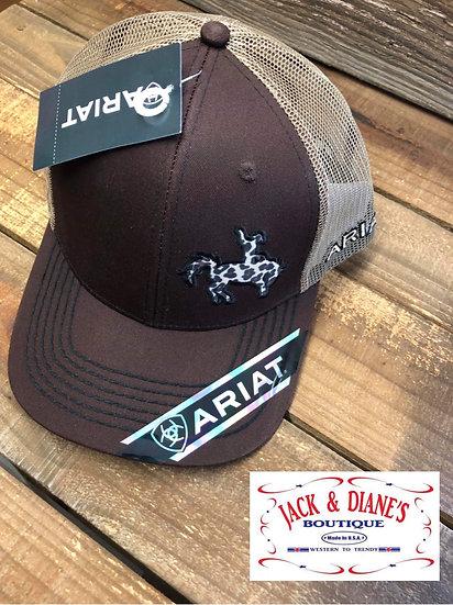 Ariat Womens Rodeo Brown Leopard Print Bronc Rider Mesh Snap Back Cap