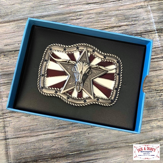 Nocona Rectangle Stars with Stripes Buckle, Silver, Red & White - 2.75 x 3