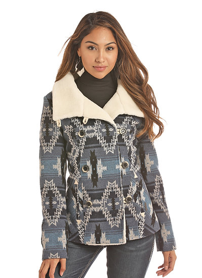 POWDER RIVER OUTFITTERS LADIES 650GM JACQUARD AZTEC WOOL COAT