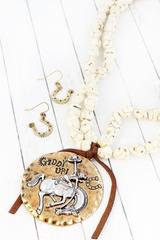 Burnished Goldtone 'Giddy Up' Cowgirl Ivory Nugget Necklace and Earring Set