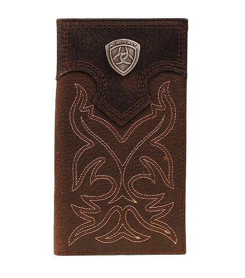 Ariat Western Men's Wallet Rodeo Leather Embroidery Brown