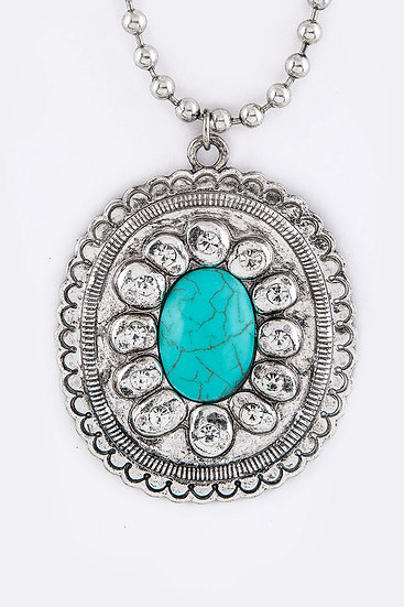 Turquoise Concho Pendant Necklace Silver