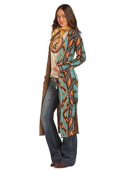 ROCK & ROLL COWGIRL LONG AZTEC CARDIGAN