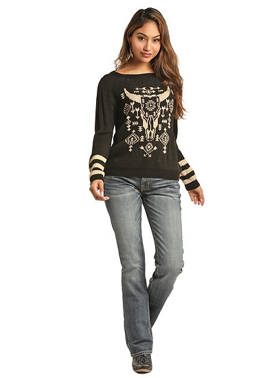 Rock & Roll Cowgirl SWEATER STEER HEAD GRAPHIC AND RAGLAN SLEEVES