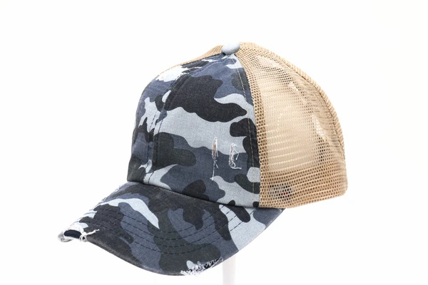 Distressed Camouflage Criss-Cross High ponytail C.C Ball Cap