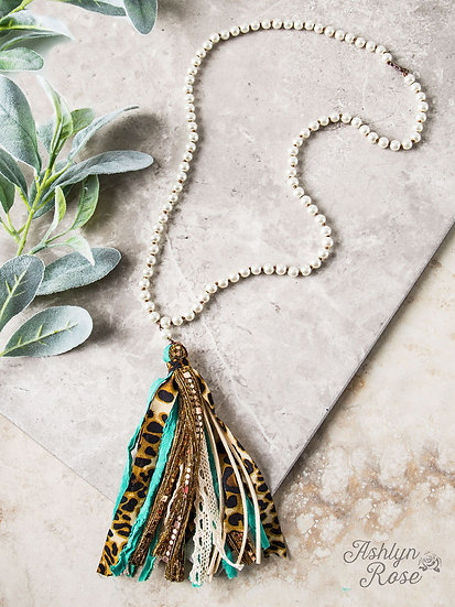 The Only One Leopard & Teal Tassel Necklace with a Pearl Beading